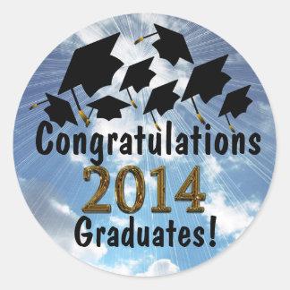 Spaß-Glückwünsche 2014 Absolvent-Kappen-Aufkleber Runder Aufkleber