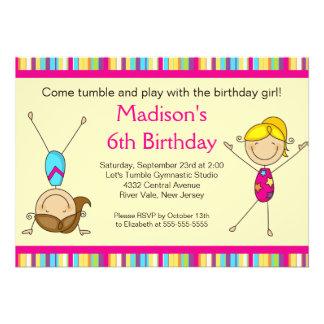 Spaß-Gymnastik-Kindergeburtstag-Party Einladung