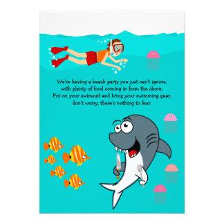 Spaß-Haifisch-Strand-Party-Geburtstags-Einladung