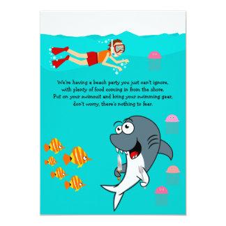 Spaß-Haifisch-Strand-Party-Geburtstags-Einladung 12,7 X 17,8 Cm Einladungskarte