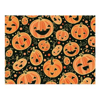 Spaß-Halloween-Kürbis-Muster Postkarte