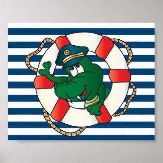 Spaß-Kapitän Alligator Poster