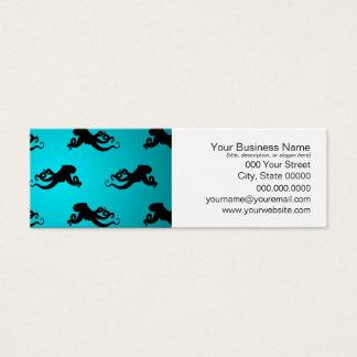 Spaß-Kraken-Muster auf hellem Türkis Mini Visitenkarte