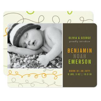 Spaß kritzelt Baby-Jungen-Foto-Geburts-Mitteilung Karte