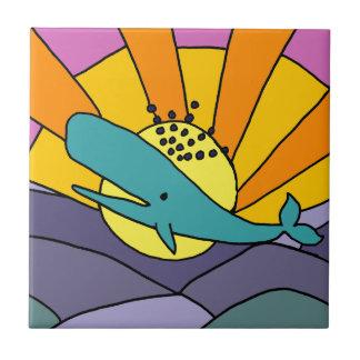Spaß-künstlerischer Wal und abstrakte Kunst Sun Keramikfliese
