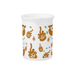 Spaß-lächelndes grüner Socken-Affe-glückliches Getränke Pitcher