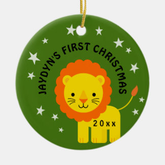 Spaß-Löwe spielt 1. erstes Geschenk des Babys Keramik Ornament