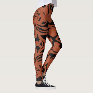 Spaß-Mode Gamaschen-Frau-Rost /Black Leggings