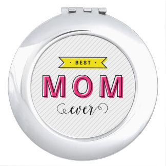 Spaß-moderne bunte rosa gelbe beste Mamma Taschenspiegel