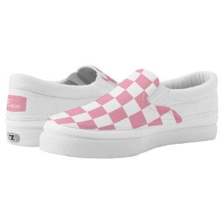 Spaß-modernes Rosen-Rosa-Schachbrett Slip-On Sneaker