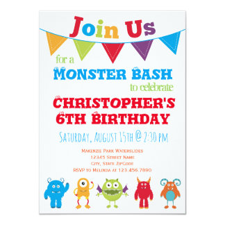 Spaß-Monster-Kindergeburtstag-Party Einladungen