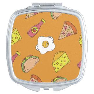Spaß-Nahrungsmittelmuster Taschenspiegel