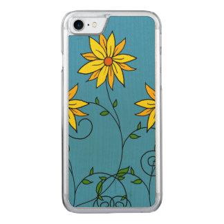 Spaß-nette gelbe Blumen-Gekritzel-Kunst Carved iPhone 8/7 Hülle
