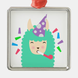 Spaß-Party Emoji Lama Silbernes Ornament