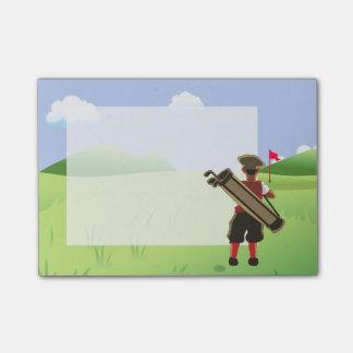 Spaß-personalisierter Golfspieler auf Golfkurs Post-it Klebezettel