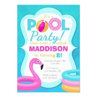 Spaß-Pool-Party-aufblasbare Geburtstags-Einladung Karte