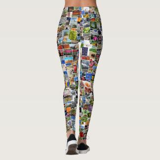 Spaß-Postkarten-Mosaik-Muster-Gamaschen Leggings