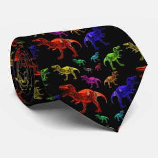 Spaß-Regenbogen T-Rexs die Krawatte schwarzer