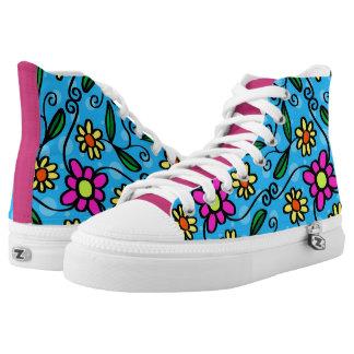 Spaß-Retro Blumen Hoch-geschnittene Sneaker