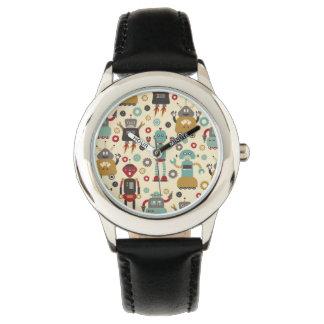 Spaß-Retro Roboter-illustriertes Muster (Creme) Uhr
