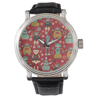Spaß-Retro Roboter-illustriertes Muster (rot) Armbanduhr