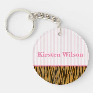 Spaß rosa Streifen u. Tigerprint personalisiert Schlüsselanhänger