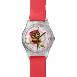 Spaß-rote Eulen-Armbanduhr Uhr