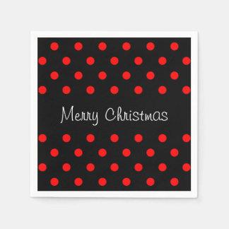 Spaß-rote schwarze Tupfen-Muster-frohe Weihnachten Serviette
