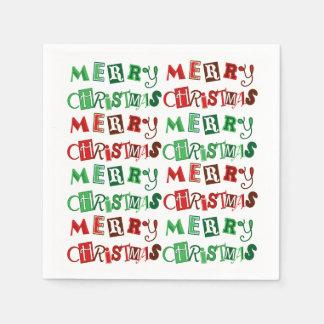Spaß-rote und grüne frohe Weihnachten Servietten