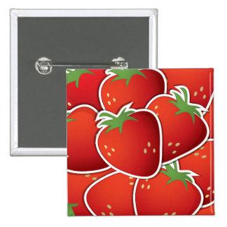 Spaß-roter Erdbeerfrucht-Entwurf Quadratischer Button 5,1 Cm
