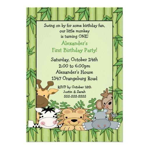 Spaß-Safari-1. Geburtstag Ankündigungskarten