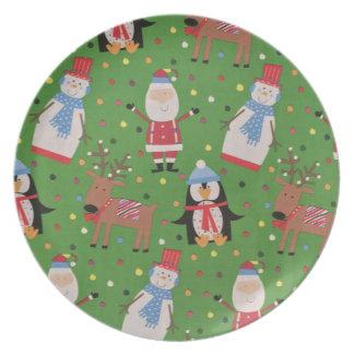 Spaß Sankt und Schneemannplatte Teller