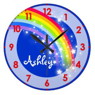 Spaß scherzt blaue NamensWanduhr des Regenbogens Uhr