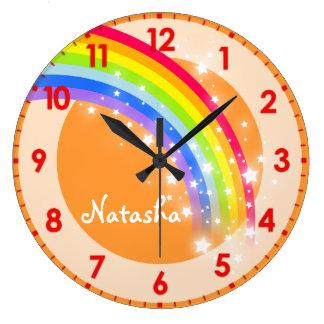 Spaß scherzt orange NamensWanduhr des Regenbogens Wanduhren