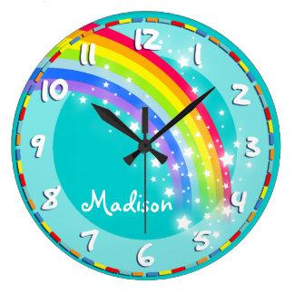 Spaß scherzt Regenbogennamensaqua-Wanduhr Uhr
