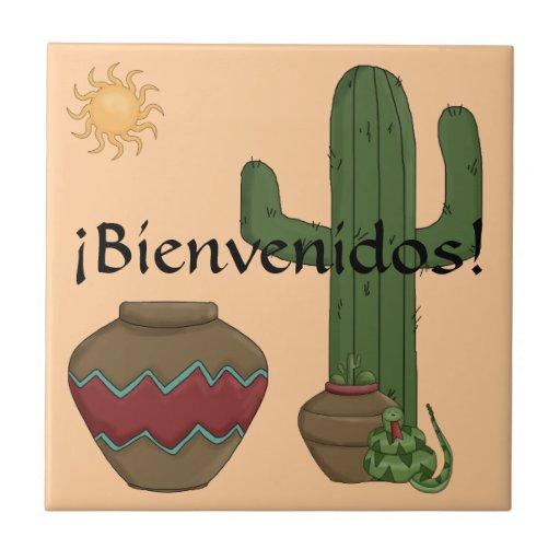 Spaß-Spanisch-Willkommens-südwestliche Wüsten-Szen Keramikkacheln