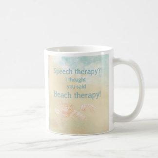 Spaß-Sprachtherapie-Zitat für Strandliebhaber Kaffeetasse
