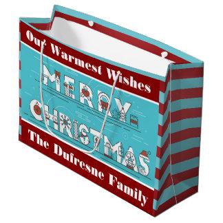 Spaß Stripes personalisiertes Weihnachten Große Geschenktüte