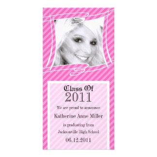 Spaß Stripes rosa Abschluss-Foto-Karte Personalisierte Foto Karte