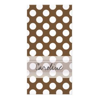 Spaß-Tupfen-Muster Monogramm-Browns weißes Bildkarte