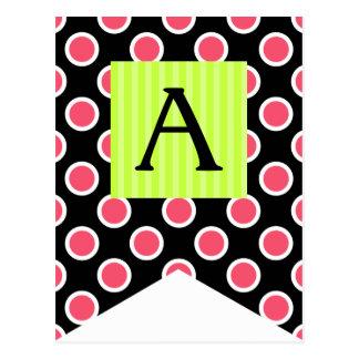 Spaß-Tupfen-rosa Flaggen-Flaggen-Postkarten Postkarte