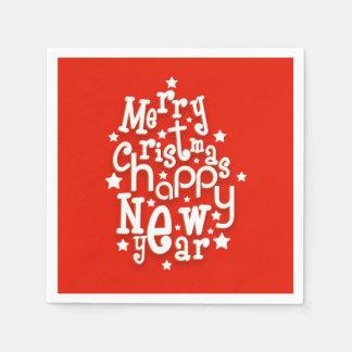 Spaß-Typografie-frohe Weihnacht-guten Rutsch ins Serviette