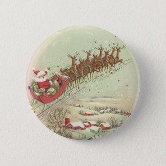 Spaß-Vintager Weihnachtssankt-Knopf Runder Button 5,7 Cm