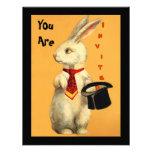Spaß-Vintages magisches Show-Kaninchen-u. Individuelle Einladungskarte