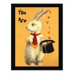 Spaß-Vintages magisches Show-Kaninchen-u. 10,8 X 14 Cm Einladungskarte