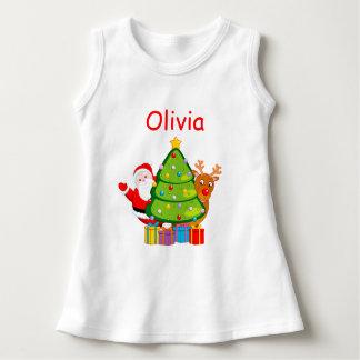 Spaß-Weihnachtsbaum mit Weihnachtsmann und Kleid