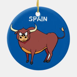 Spaß-Weihnachtskreis-Verzierung Spaniens Stier Rundes Keramik Ornament