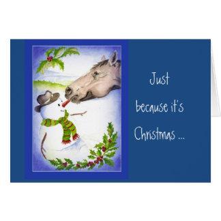 Spaß-WeihnachtspferdeSchneemann essen Ihr Gemüse Karte