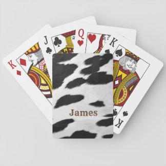 Spaß-Western-Schwarzweiss-Kuh-Fell-Blick und Name Spielkarten