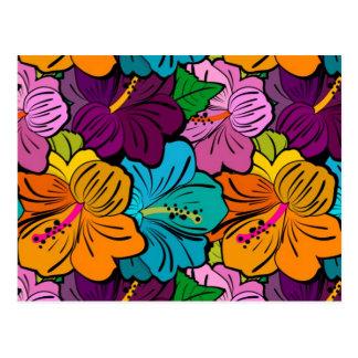 Spaß-wunderlicher reizend mehrfarbiger Hibiskus Postkarte